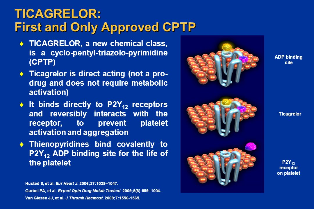 TICAGRELOR: First and Only Approved CPTP  TICAGRELOR, a new chemical class, is a cyclo-pentyl-triazolo-pyrimidine (CPTP)  Ticagrelor is direct actin