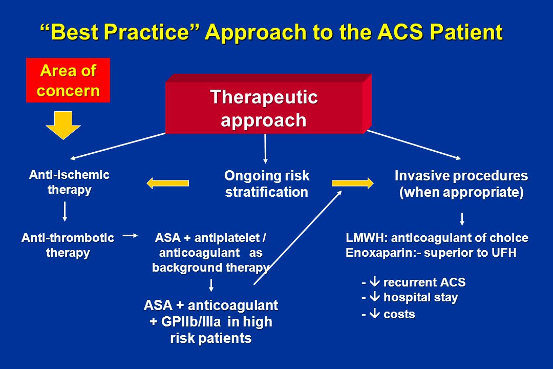"""""""Best Practice"""" Approach to the ACS Patient Anti-ischemic therapy Anti-thrombotic therapy Ongoing risk stratification Invasive procedures (when approp"""