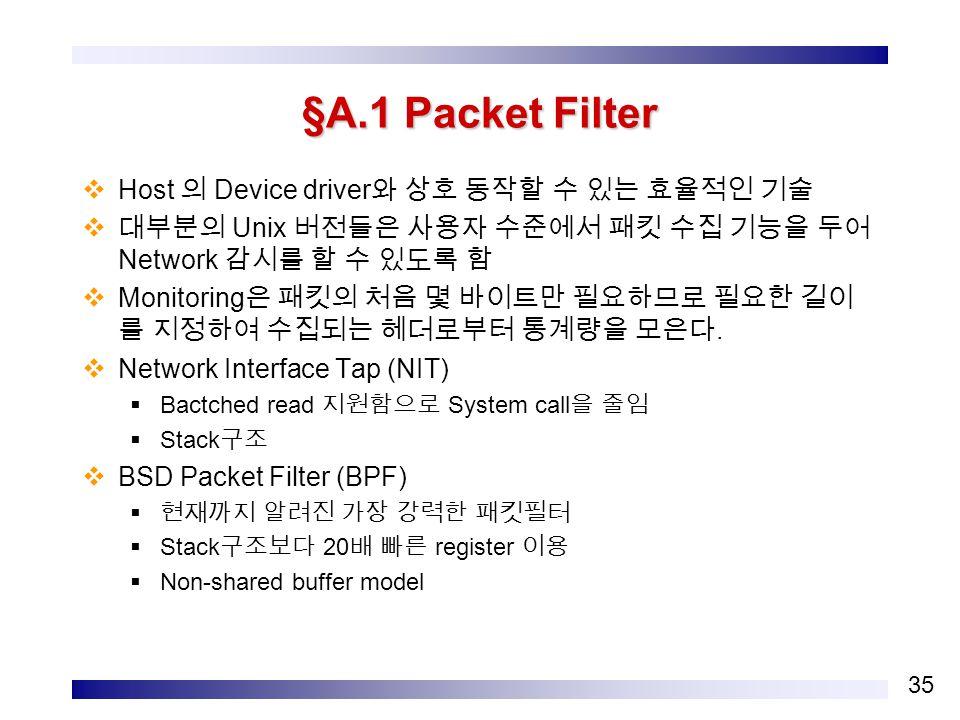 35 §A.1 Packet Filter  Host 의 Device driver 와 상호 동작할 수 있는 효율적인 기술  대부분의 Unix 버전들은 사용자 수준에서 패킷 수집 기능을 두어 Network 감시를 할 수 있도록 함  Monitoring 은 패킷의 처음 몇 바이트만 필요하므로 필요한 길이 를 지정하여 수집되는 헤더로부터 통계량을 모은다.
