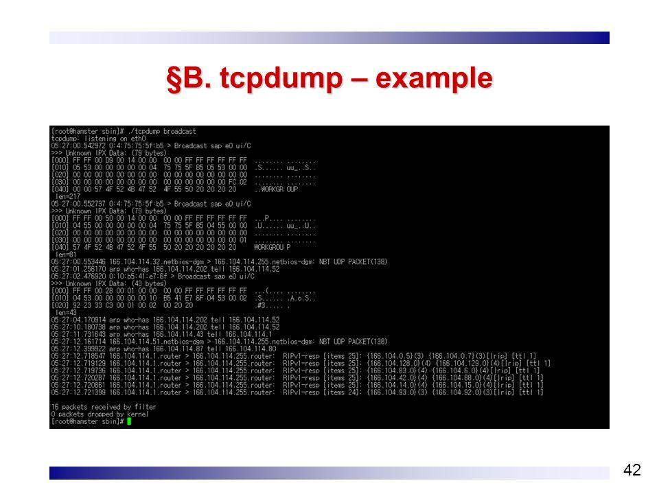 42 §B. tcpdump – example