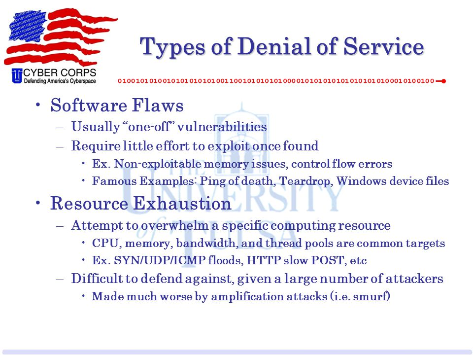 "Types of Denial of Service Software Flaws –Usually ""one-off"" vulnerabilities –Require little effort to exploit once found Ex. Non-exploitable memory i"