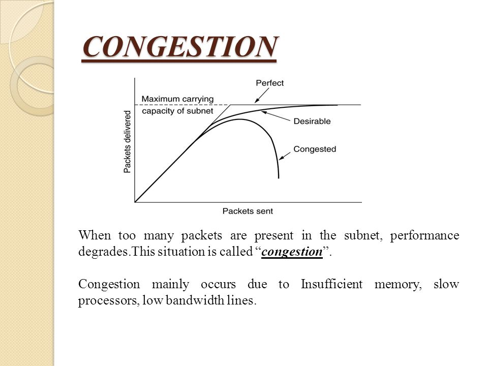 """CONGESTION When too many packets are present in the subnet, performance degrades.This situation is called """"congestion"""". Congestion mainly occurs due t"""