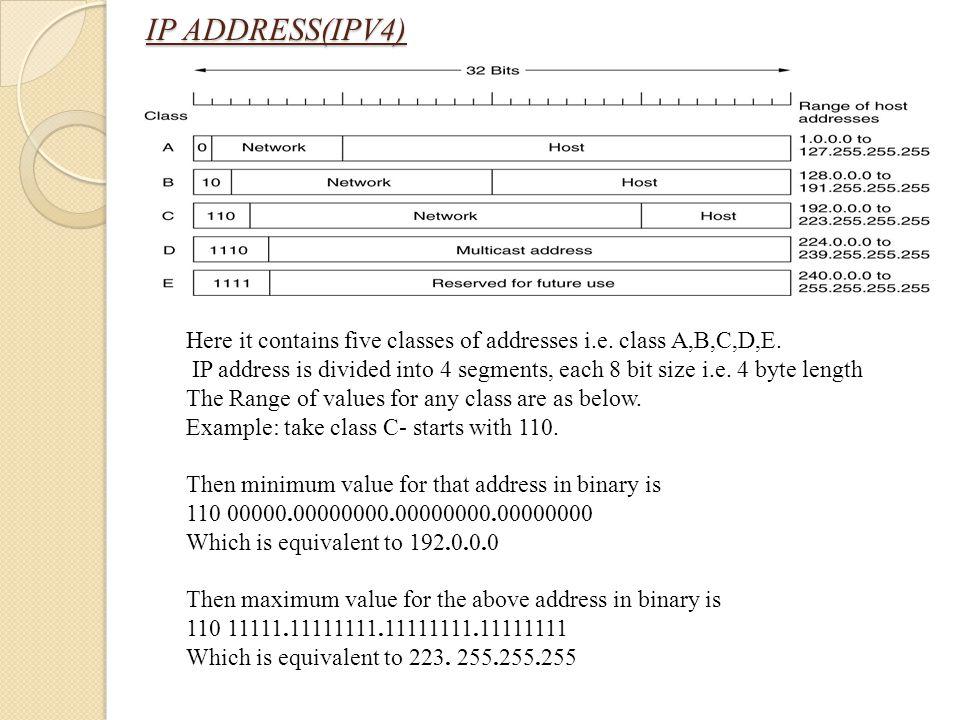IP ADDRESS(IPV4) Here it contains five classes of addresses i.e. class A,B,C,D,E. IP address is divided into 4 segments, each 8 bit size i.e. 4 byte l