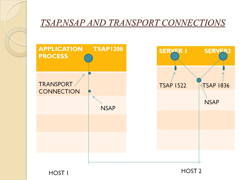 TSAP,NSAP AND TRANSPORT CONNECTIONS APPLICATION TSAP1208 PROCESS TRANSPORT CONNECTION NSAP SERVER 1 SERVER2 TSAP 1522 TSAP 1836 NSAP HOST 1 HOST 2