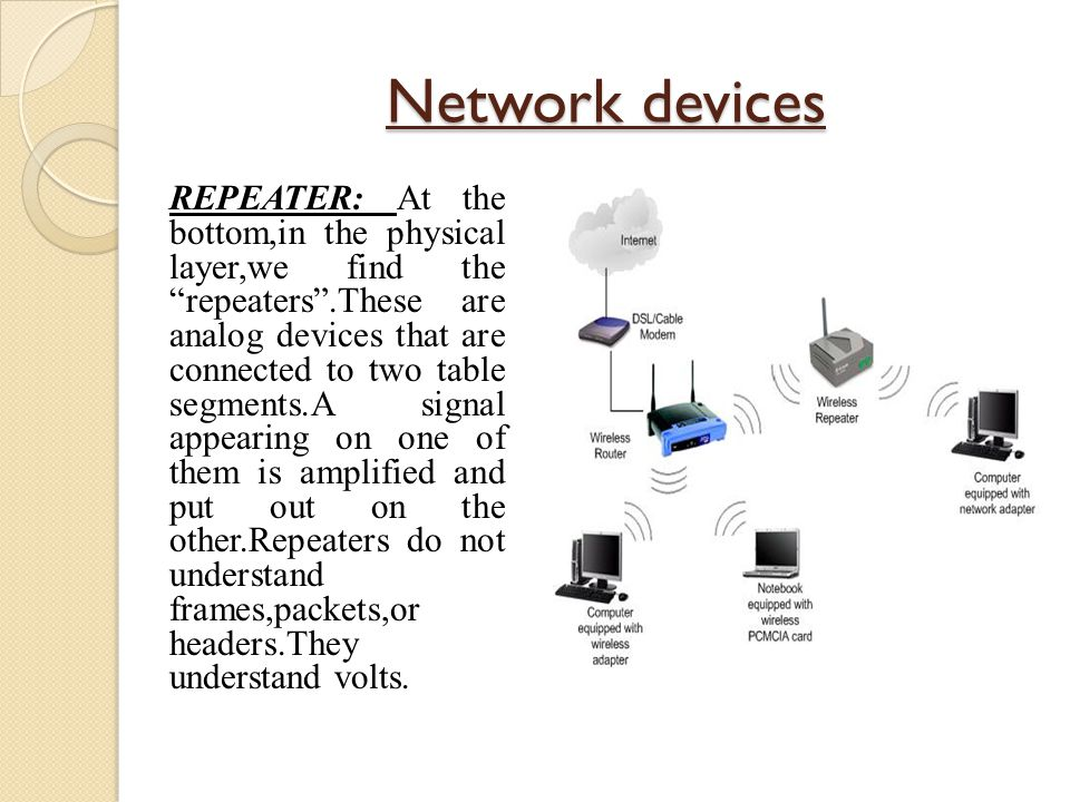 """Network devices REPEATER: At the bottom,in the physical layer,we find the """"repeaters"""".These are analog devices that are connected to two table segment"""