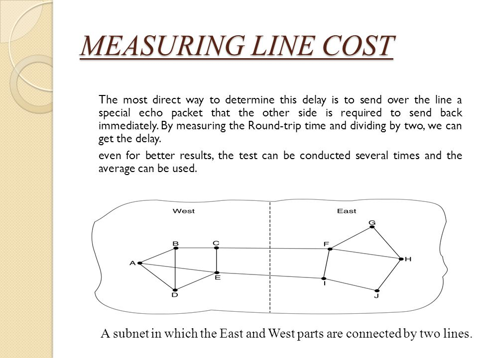 MEASURING LINE COST The most direct way to determine this delay is to send over the line a special echo packet that the other side is required to send