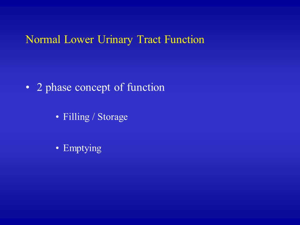 Normal Lower Urinary Tract Function 2 phase concept of function Filling / Storage Emptying