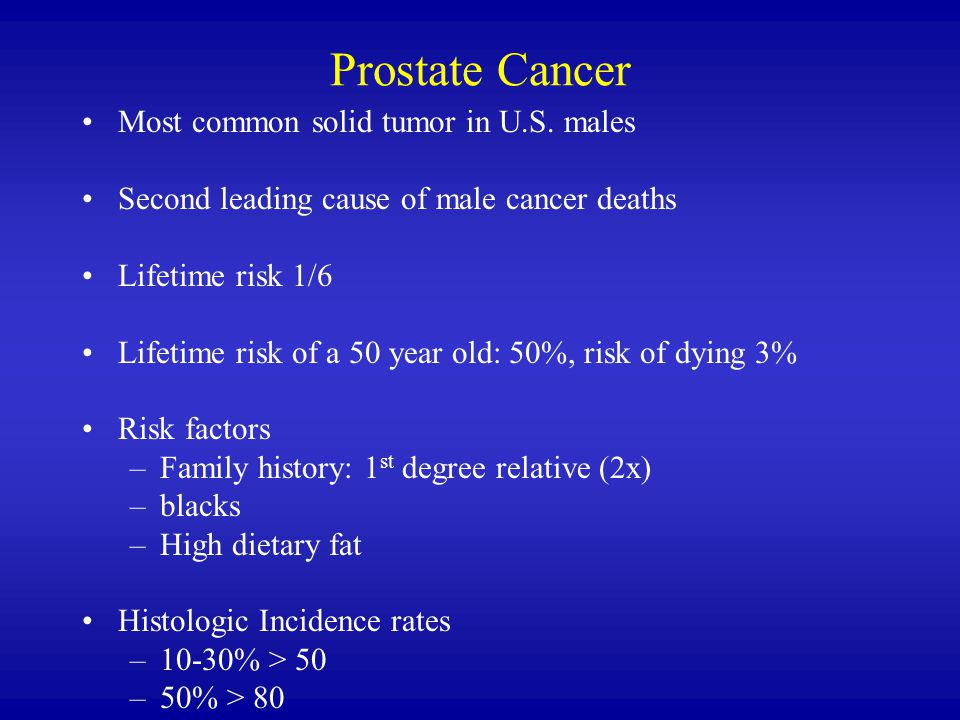 Prostate Cancer Most common solid tumor in U.S.