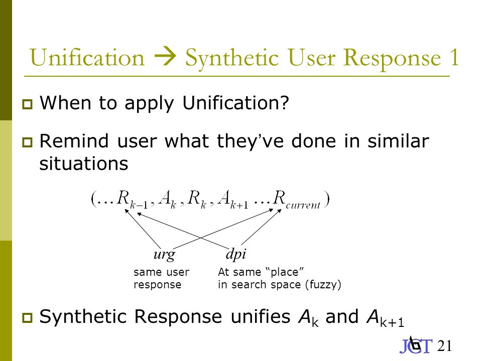 21 Unification  Synthetic User Response 1  When to apply Unification.