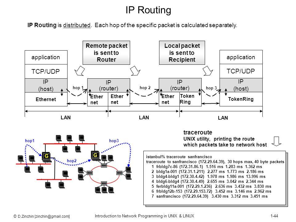 © D.Zinchin [zinchin@gmail.com] Introduction to Network Programming in UNIX & LINUX1-44 istanbul% traceroute sanfrancisco traceroute to sanfrancisco (