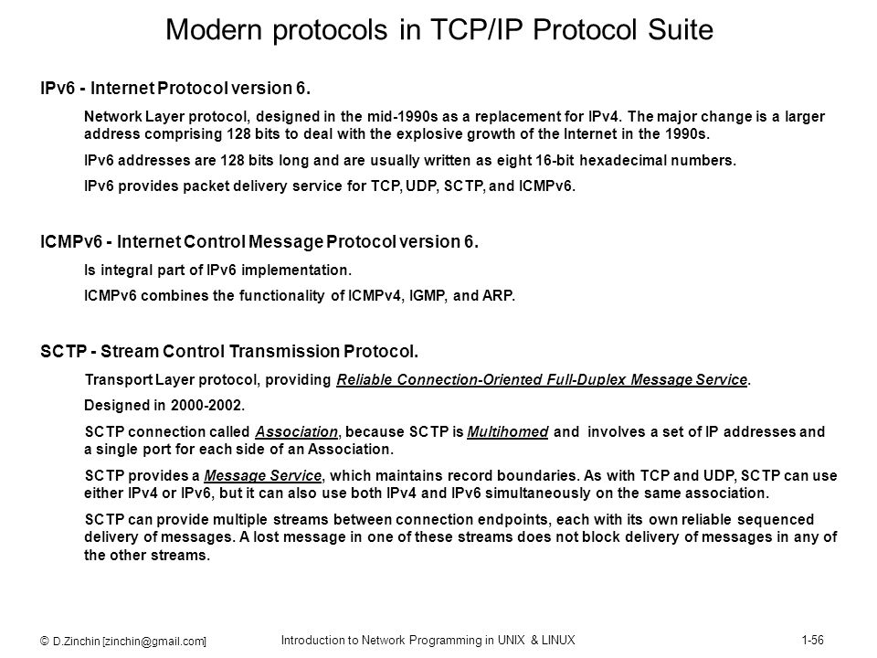 © D.Zinchin [zinchin@gmail.com] Introduction to Network Programming in UNIX & LINUX1-56 Modern protocols in TCP/IP Protocol Suite IPv6 - Internet Prot