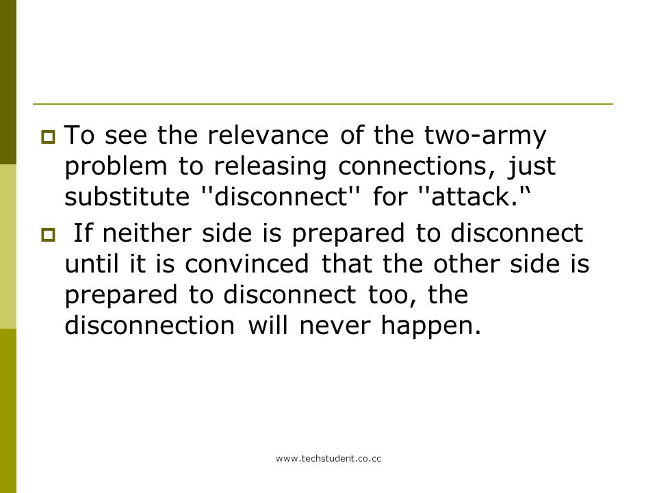 www.techstudent.co.cc  To see the relevance of the two-army problem to releasing connections, just substitute ''disconnect'' for ''attack.''  If nei