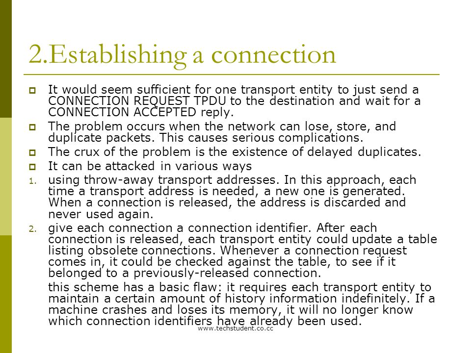 www.techstudent.co.cc 2.Establishing a connection  It would seem sufficient for one transport entity to just send a CONNECTION REQUEST TPDU to the de