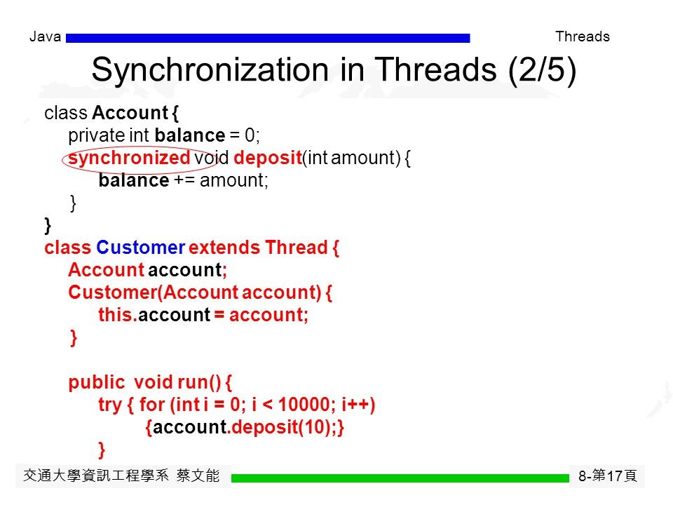 交通大學資訊工程學系 蔡文能 8- 第 16 頁 JavaThreads Synchronization is a mechanism to control the the execution of different threads so that: -when multiple threads