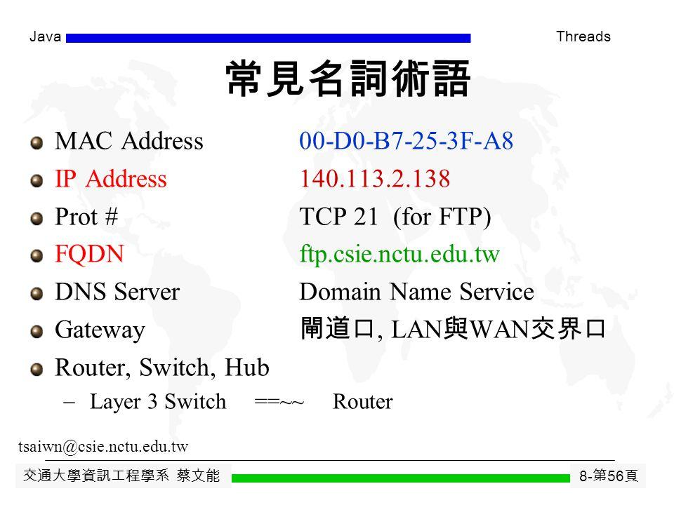 交通大學資訊工程學系 蔡文能 8- 第 55 頁 JavaThreads TCP/IP 網路通訊協定 arprlogin, talk, ftp, DNSNFS, DNStraceroute TCPUDP IPICMP ARP, Device Drivers Ethernet Header IP Header TCP Header Application Data Ethernet Trailer ETHERNET FRAME 43214321 Layer