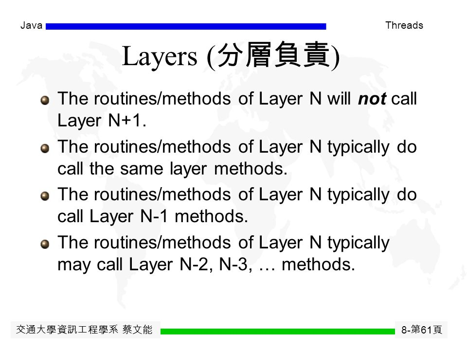 交通大學資訊工程學系 蔡文能 8- 第 60 頁 JavaThreads OSI 7-Layers Reference Model ISO: International Standard Organization OSI : Open System Interconnection  It prev