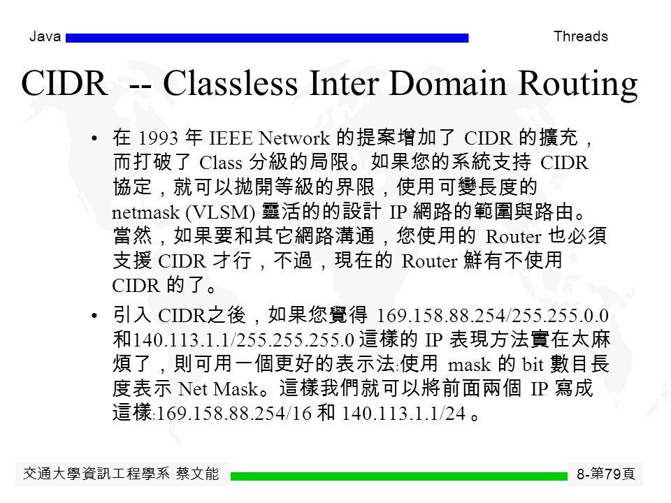 交通大學資訊工程學系 蔡文能 8- 第 78 頁 JavaThreads Internet Address (IPv4 Addresses) Five Classes 012348162431 Class A0netidhostid Class B10netidhostid Class C110netidhostid Class D1110 Multicast Address Class E11110Reserved for Future Use IP Address Format Identifies a networkIdentifies a host on that network (netid, hostid ) Dotted Decimal Notation 128.12.5.30 10000000 00001100 00000101 00011110 127.0.0.1 代表任何一台 IP 主機自 己