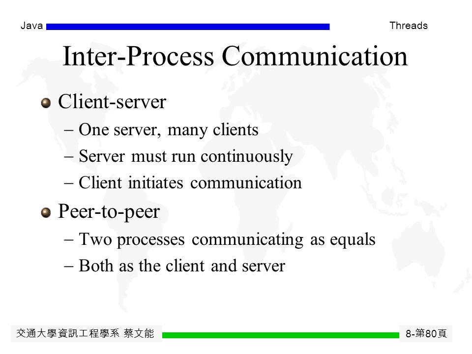交通大學資訊工程學系 蔡文能 8- 第 79 頁 JavaThreads CIDR -- Classless Inter Domain Routing 在 1993 年 IEEE Network 的提案增加了 CIDR 的擴充, 而打破了 Class 分級的局限。如果您的系統支持 CIDR 協定,就可以拋開等級的界限,使用可變長度的 netmask (VLSM) 靈活的的設計 IP 網路的範圍與路由。 當然,如果要和其它網路溝通,您使用的 Router 也必須 支援 CIDR 才行,不過,現在的 Router 鮮有不使用 CIDR 的了。 引入 CIDR 之後,如果您覺得 169.158.88.254/255.255.0.0 和 140.113.1.1/255.255.255.0 這樣的 IP 表現方法實在太麻 煩了,則可用一個更好的表示法﹕使用 mask 的 bit 數目長 度表示 Net Mask 。這樣我們就可以將前面兩個 IP 寫成 這樣﹕ 169.158.88.254/16 和 140.113.1.1/24 。