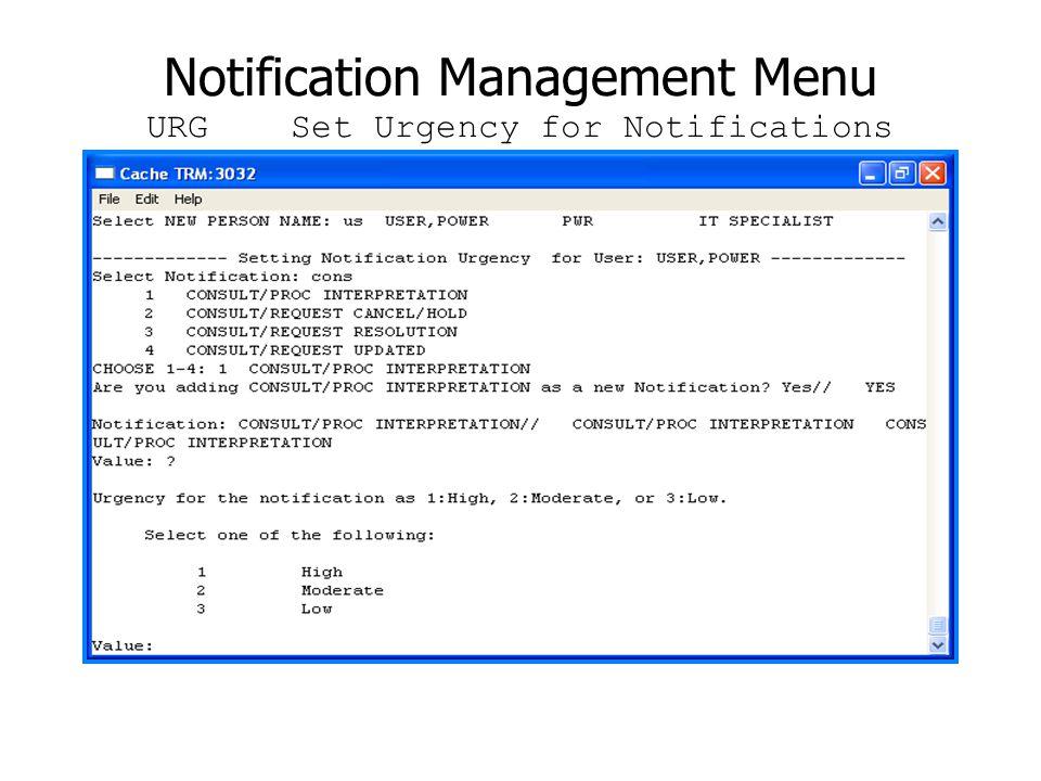 Notification Management Menu URG Set Urgency for Notifications