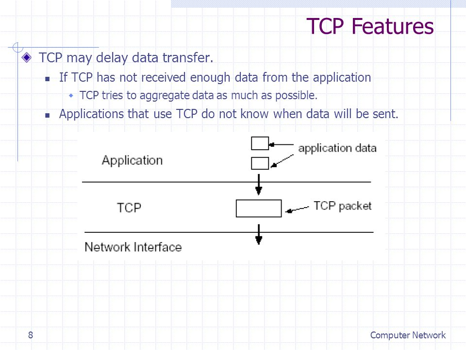 Computer Network8 TCP may delay data transfer.