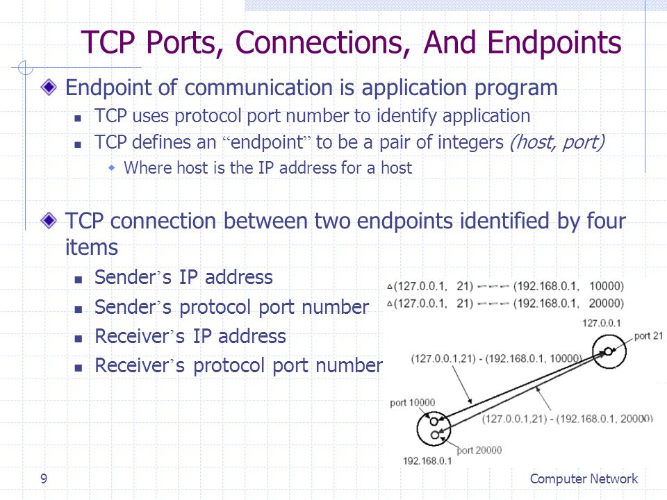 Computer Network9 TCP Ports, Connections, And Endpoints Endpoint of communication is application program TCP uses protocol port number to identify app
