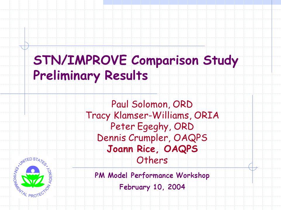 STN/IMPROVE Comparison Study Preliminary Results Paul Solomon, ORD Tracy Klamser-Williams, ORIA Peter Egeghy, ORD Dennis Crumpler, OAQPS Joann Rice, O