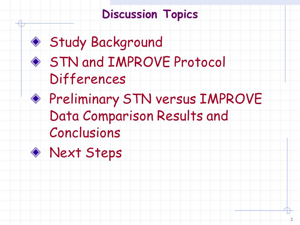 2 Discussion Topics Study Background STN and IMPROVE Protocol Differences Preliminary STN versus IMPROVE Data Comparison Results and Conclusions Next