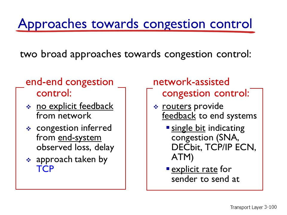 Transport Layer 3-100 Approaches towards congestion control two broad approaches towards congestion control: end-end congestion control:  no explicit feedback from network  congestion inferred from end-system observed loss, delay  approach taken by TCP network-assisted congestion control:  routers provide feedback to end systems  single bit indicating congestion (SNA, DECbit, TCP/IP ECN, ATM)  explicit rate for sender to send at