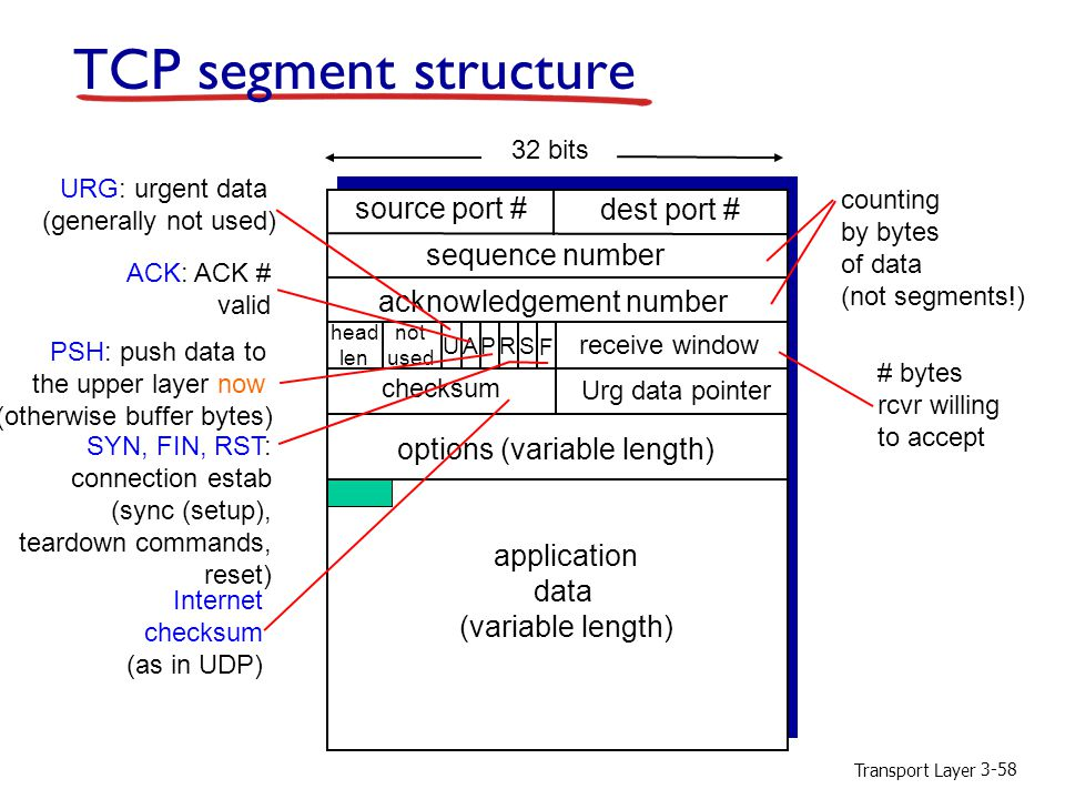 Transport Layer 3-58 TCP segment structure source port # dest port # 32 bits application data (variable length) sequence number acknowledgement number receive window Urg data pointer checksum F SR PAU head len not used options (variable length) URG: urgent data (generally not used) ACK: ACK # valid PSH: push data to the upper layer now (otherwise buffer bytes) SYN, FIN, RST: connection estab (sync (setup), teardown commands, reset) # bytes rcvr willing to accept counting by bytes of data (not segments!) Internet checksum (as in UDP)