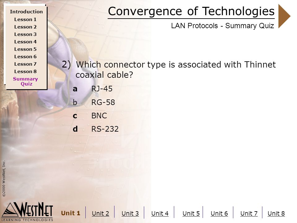 Convergence of Technologies ©2000 WestNet, Inc. Unit 1 Unit 2Unit 3Unit 4Unit 5Unit 6Unit 7Unit 8 LAN Protocols - Summary Quiz 2) Which connector type
