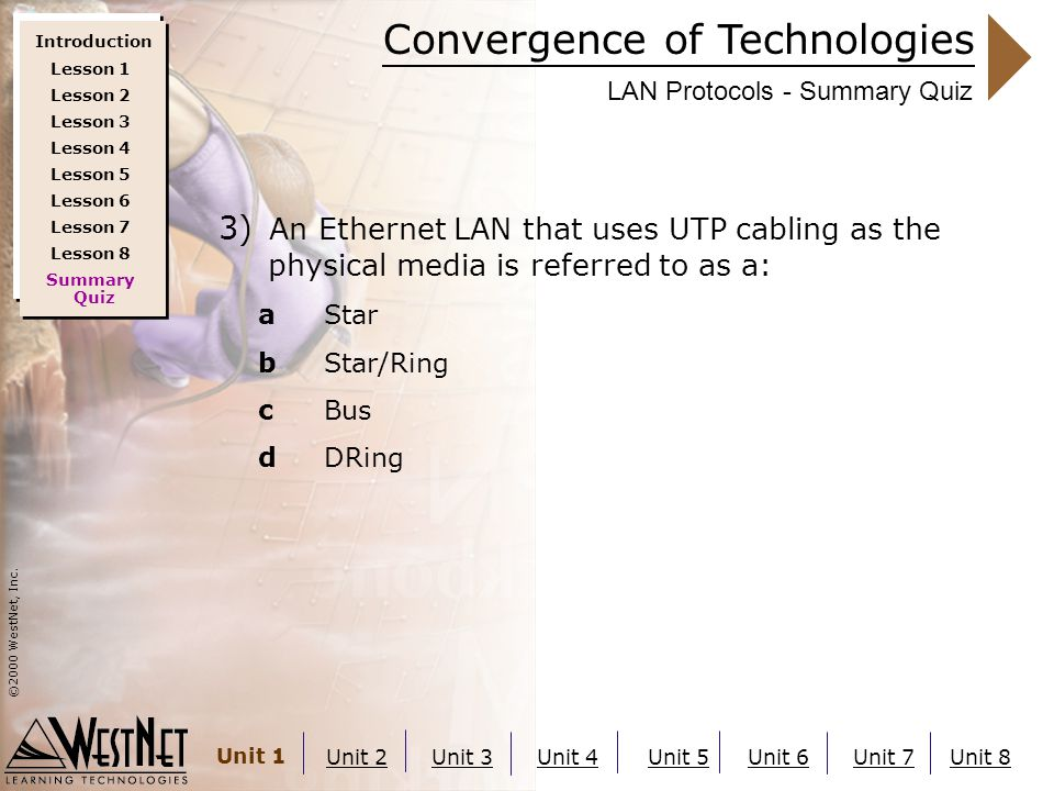 Convergence of Technologies ©2000 WestNet, Inc. Unit 1 Unit 2Unit 3Unit 4Unit 5Unit 6Unit 7Unit 8 LAN Protocols - Summary Quiz 3) An Ethernet LAN that