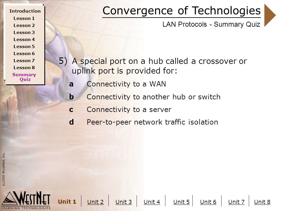 Convergence of Technologies ©2000 WestNet, Inc. Unit 1 Unit 2Unit 3Unit 4Unit 5Unit 6Unit 7Unit 8 LAN Protocols - Summary Quiz 5) A special port on a