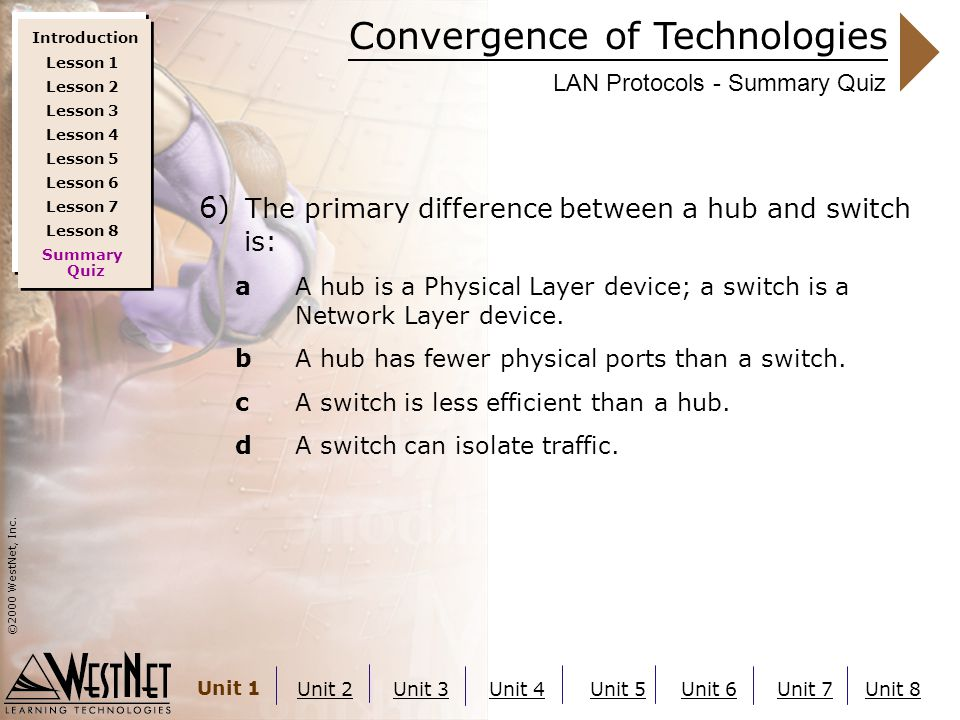 Convergence of Technologies ©2000 WestNet, Inc. Unit 1 Unit 2Unit 3Unit 4Unit 5Unit 6Unit 7Unit 8 LAN Protocols - Summary Quiz 6) The primary differen