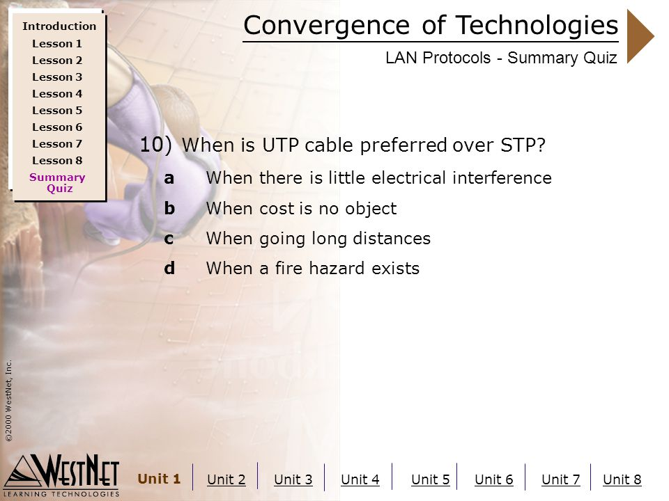 Convergence of Technologies ©2000 WestNet, Inc. Unit 1 Unit 2Unit 3Unit 4Unit 5Unit 6Unit 7Unit 8 LAN Protocols - Summary Quiz 10) When is UTP cable p