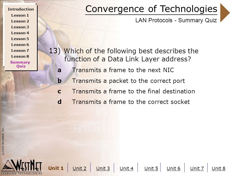 Convergence of Technologies ©2000 WestNet, Inc. Unit 1 Unit 2Unit 3Unit 4Unit 5Unit 6Unit 7Unit 8 LAN Protocols - Summary Quiz 13) Which of the follow