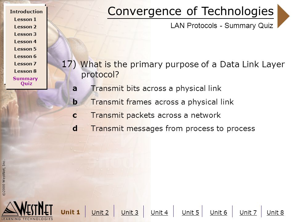 Convergence of Technologies ©2000 WestNet, Inc. Unit 1 Unit 2Unit 3Unit 4Unit 5Unit 6Unit 7Unit 8 LAN Protocols - Summary Quiz 17) What is the primary
