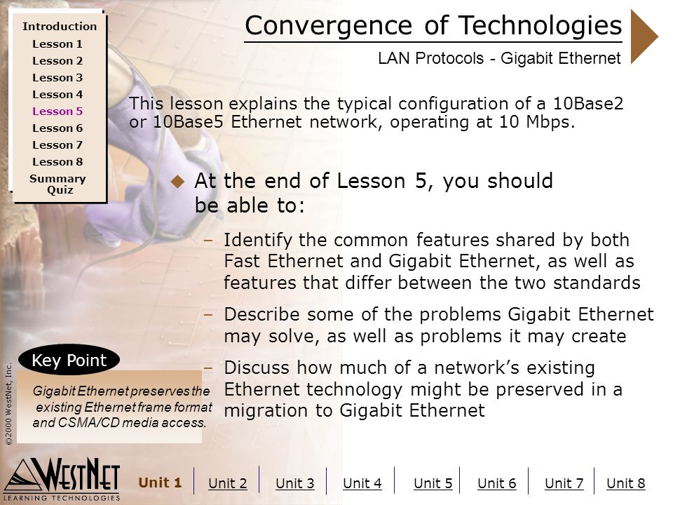 Convergence of Technologies ©2000 WestNet, Inc. Unit 1 Unit 2Unit 3Unit 4Unit 5Unit 6Unit 7Unit 8 LAN Protocols - Gigabit Ethernet  At the end of Les