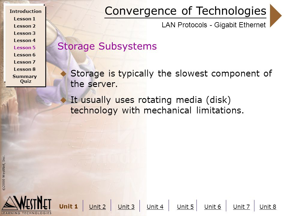 Convergence of Technologies ©2000 WestNet, Inc. Unit 1 Unit 2Unit 3Unit 4Unit 5Unit 6Unit 7Unit 8 LAN Protocols - Gigabit Ethernet  Storage is typica