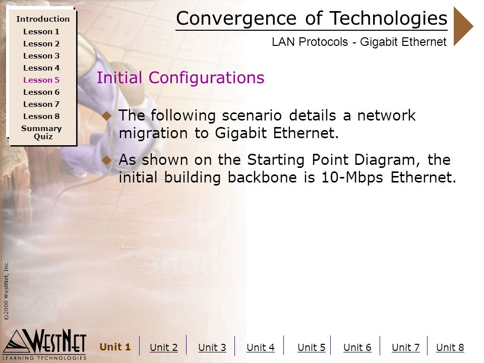 Convergence of Technologies ©2000 WestNet, Inc. Unit 1 Unit 2Unit 3Unit 4Unit 5Unit 6Unit 7Unit 8 LAN Protocols - Gigabit Ethernet  The following sce