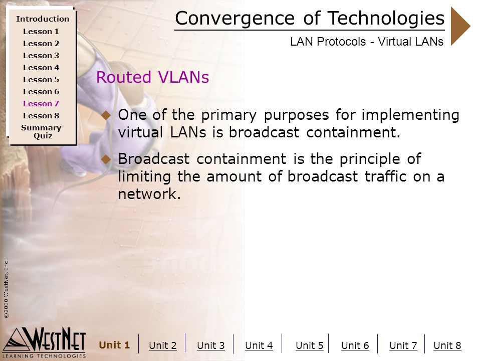 Convergence of Technologies ©2000 WestNet, Inc. Unit 1 Unit 2Unit 3Unit 4Unit 5Unit 6Unit 7Unit 8 LAN Protocols - Virtual LANs  One of the primary pu