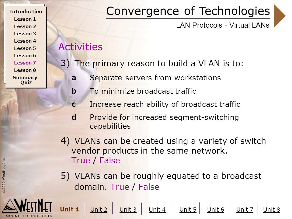 Convergence of Technologies ©2000 WestNet, Inc. Unit 1 Unit 2Unit 3Unit 4Unit 5Unit 6Unit 7Unit 8 LAN Protocols - Virtual LANs 3) The primary reason t