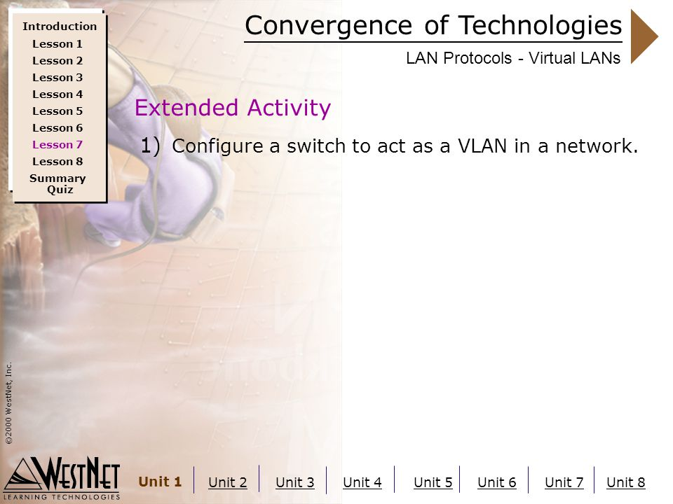 Convergence of Technologies ©2000 WestNet, Inc. Unit 1 Unit 2Unit 3Unit 4Unit 5Unit 6Unit 7Unit 8 LAN Protocols - Virtual LANs 1) Configure a switch t