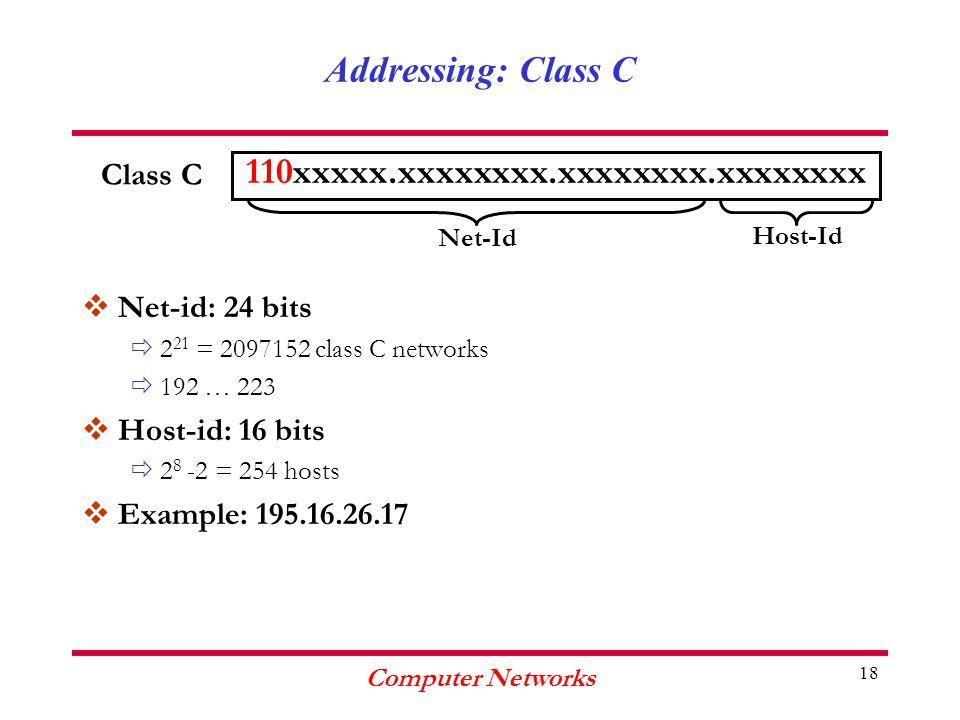 Computer Networks 18 Addressing: Class C vNet-id: 24 bits ð2 21 = 2097152 class C networks ð192 … 223 vHost-id: 16 bits ð2 8 -2 = 254 hosts vExample: 195.16.26.17 110xxxxx.xxxxxxxx.xxxxxxxx.xxxxxxxx Class C Net-Id Host-Id