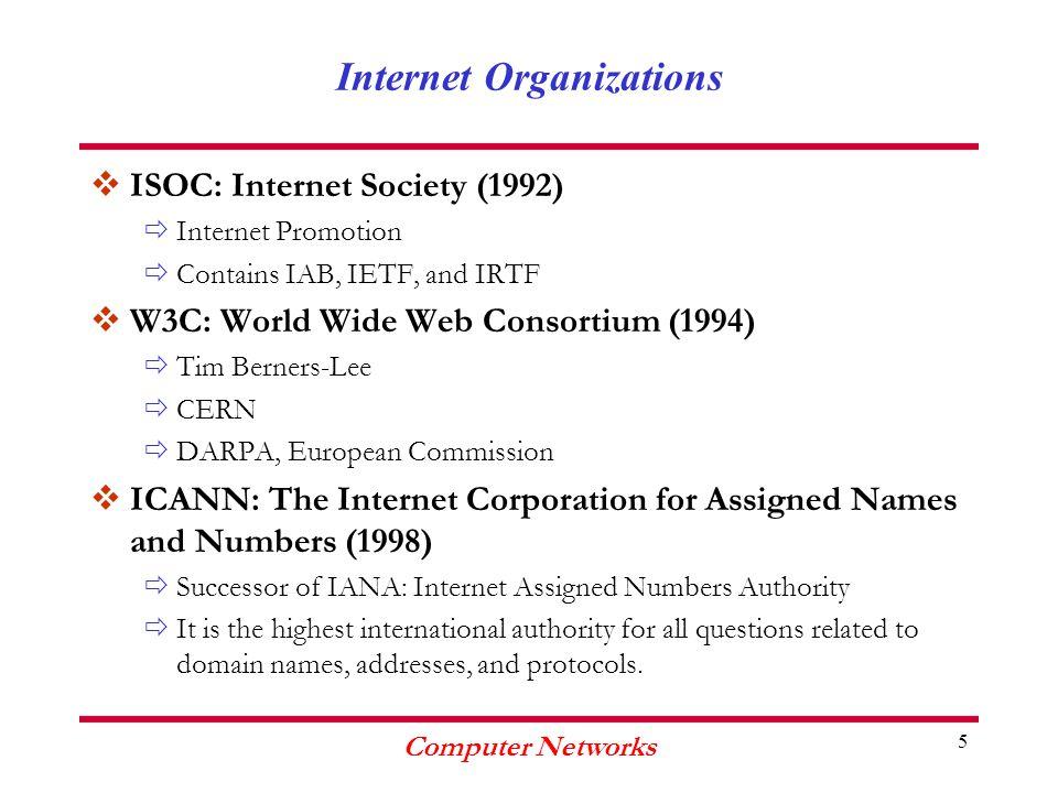 Computer Networks 6 Internet Organizations IAB IESGIRSG IETFIRTF ISOC