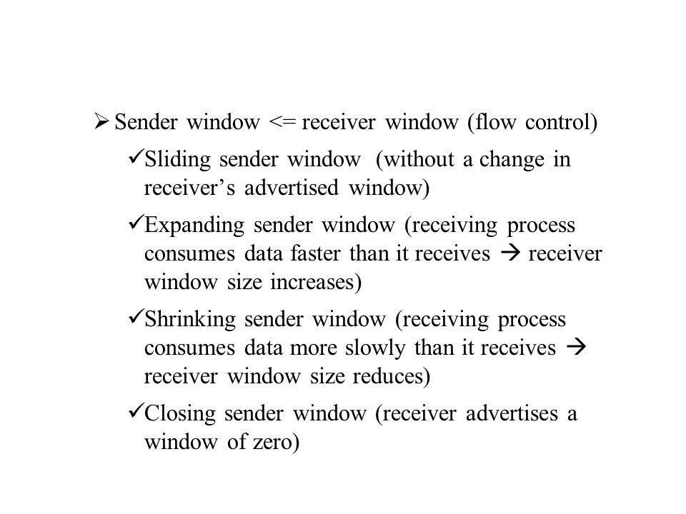 Sender window <= receiver window (flow control) Sliding sender window (without a change in receiver's advertised window) Expanding sender window (re