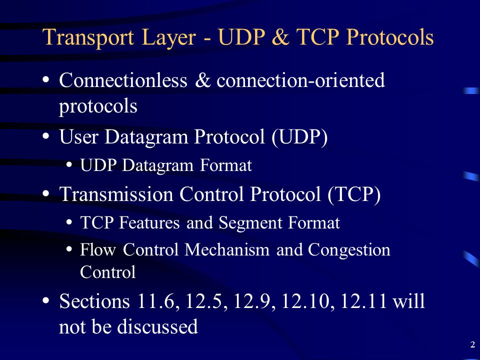 33 TCP Congestion Control Congestion in a network happens when the input traffic rate is greater than the traffic processing rate of network nodes for consistently long periods of time To recover from congestion, traffic input rate needs to be reduced by the sending hosts TCP handles congestion using following mechanisms (RFC 2581): –Slow start –Congestion Avoidance –Congestion detection