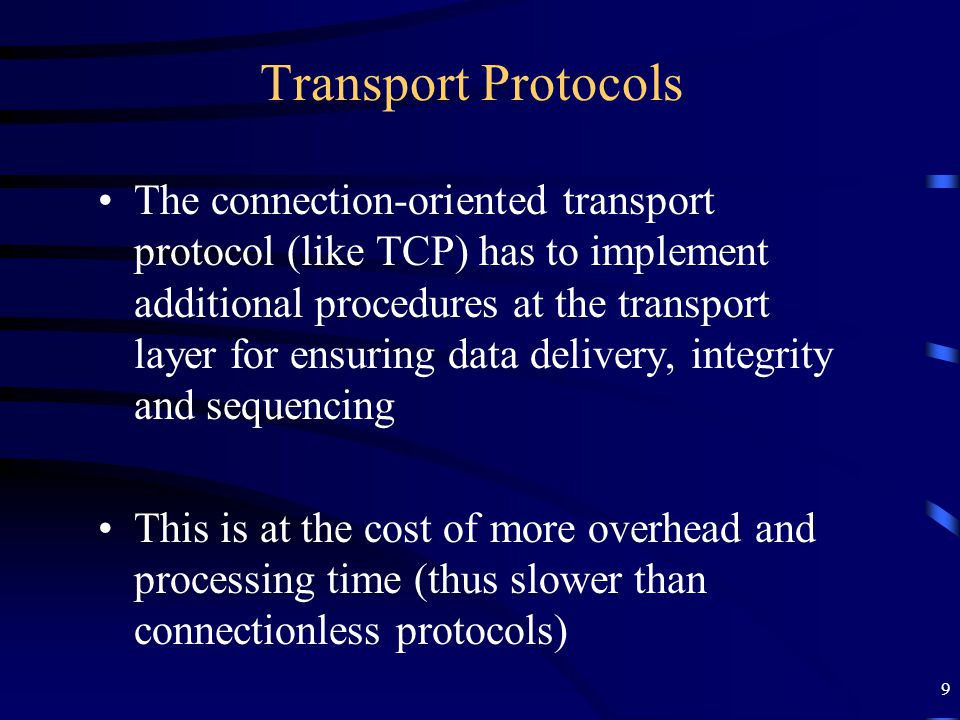 10 User Datagram Protocol (UDP) - RFC 768 Provides a minimal, simple, and best-effort transport layer protocol, as some applications do not require the robustness of TCP Provides a connection-less service to applications –Reliable data delivery or delivery of data in the correct sequence are not guaranteed Faster and more efficient than TCP Examples of applications using UDP: –DNS (Domain Name System) –SNMP (Simple Network Management Protocol)