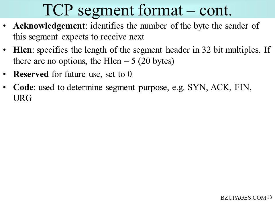 BZUPAGES.COM 13 TCP segment format – cont.