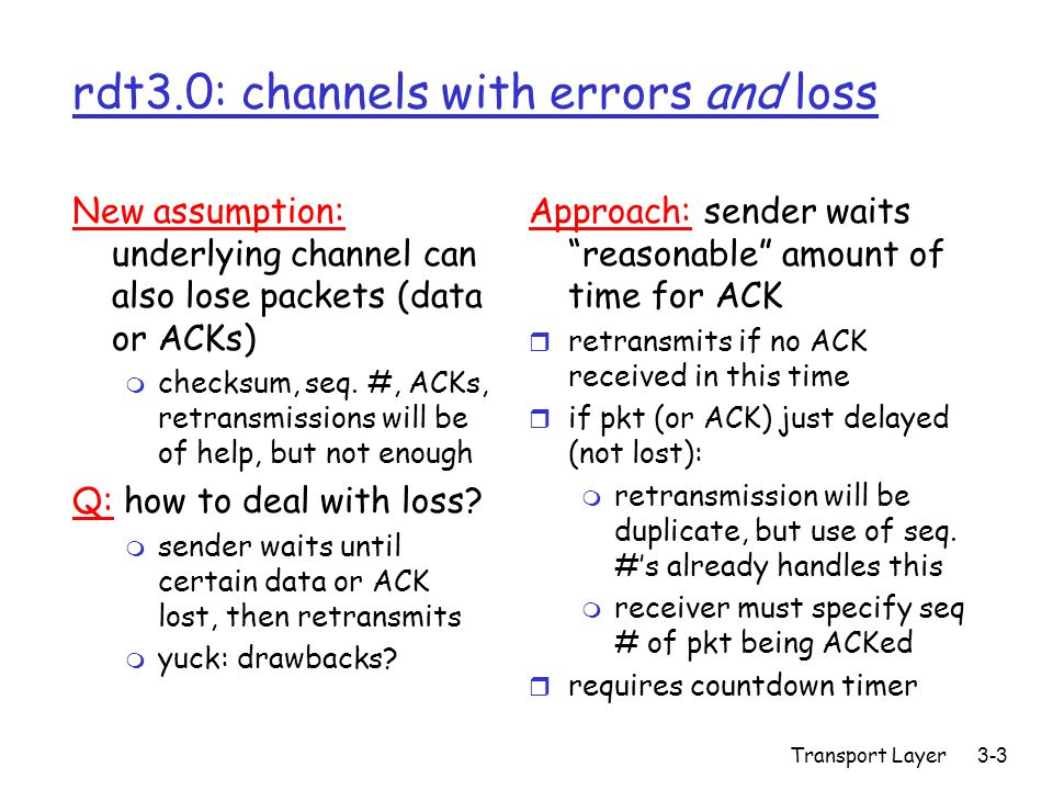 Transport Layer3-3 rdt3.0: channels with errors and loss New assumption: underlying channel can also lose packets (data or ACKs) m checksum, seq. #, A