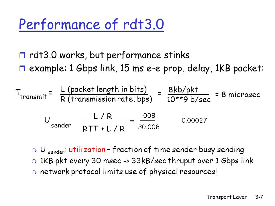 Transport Layer3-7 Performance of rdt3.0 r rdt3.0 works, but performance stinks r example: 1 Gbps link, 15 ms e-e prop. delay, 1KB packet: T transmit